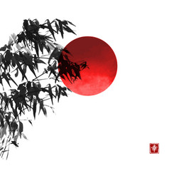 Ink wash painting bamboo and big red sun vector
