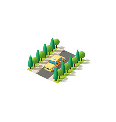 Isometric left view yellow taxi vector