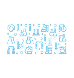 laboratory equipment outline banner vector image