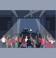 Large group of people or music fans dancing in vector
