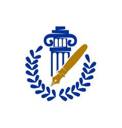 law justice firm pillar pen leaf logo design vector image
