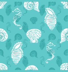 Layered blue and white seahorse starfish vector