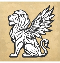 Lion statue with wings Vintage style vector image