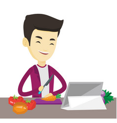 Man cooking healthy vegetable salad vector