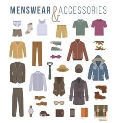 Men fashion clothes and accessories flat icons vector