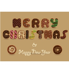Merry Christmas Chocolate Donuts font vector