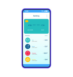 Mobile banking account interface template vector