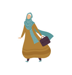 modern arab woman in traditional clothing walking vector image