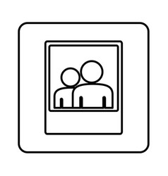 monochrome contour square with picture icon vector image