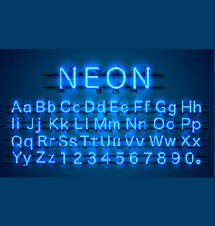 Neon city color blue font english alphabet sign vector