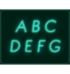 Neon italic font type alphabet glowing vector