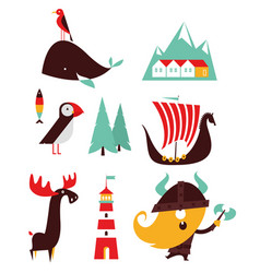 norway flat simple travel style vector image
