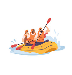 People swimming in inflatable boat rowing vector