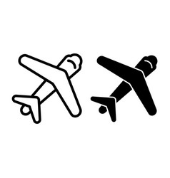 plane line and glyph icon aircraft vector image
