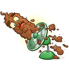 poop hitting the fan cartoon character vector image