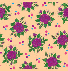 Purple rose bunch with polka dots pattern vector