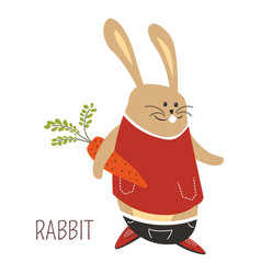 Rabbit with carrot childish cartoon book character vector