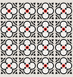 Red and black floral seamless tiles pattern vector