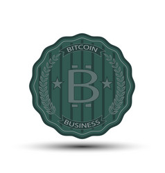 retro badge with bitcoin symbol vector image
