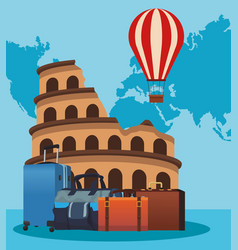 Roma coliseum with hot air balloon and travel vector