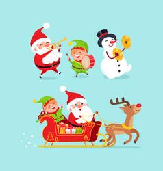 santa claus snowman with elf vector image vector image