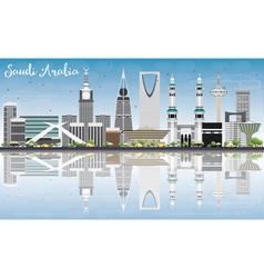 Saudi Arabia Skyline with Landmarks Blue Sky vector image