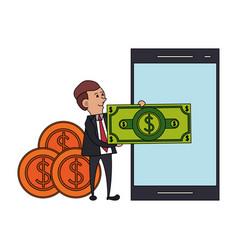 Saving money finance banking cartoon vector