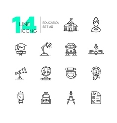 School and Education - line icons set vector