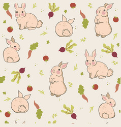 seamless pattern with rabbits and vegetables vector image