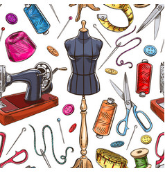 Seamless sketch tailoring equipment vector