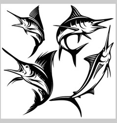 Set blue marlin fish vector