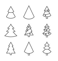 set christmas tree vector image