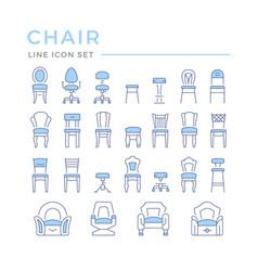 set color line icons chair vector image