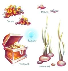 set of sea elements for underwater scene vector image