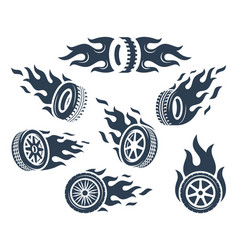 Set wheels silhouettes with fire flame vector