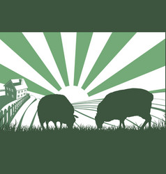 Sheep farm sunrise landscape vector