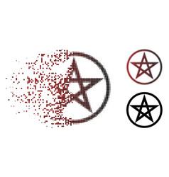 Shredded dot halftone star pentacle icon vector