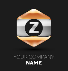 Silver letter z logo in silver-golden hexagonal vector