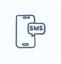 Smartphone with message sketch icon vector image