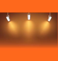 spotlight on orange background light effect bright vector image