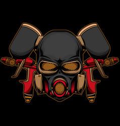 spray gun and helmet logo vector image