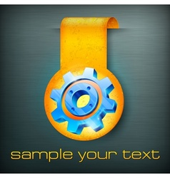 Sticker with gear vector image
