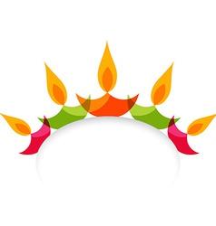 Stylish colorful diwali diya isolated on white vector image