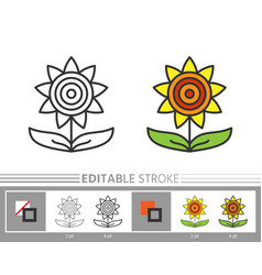 Sunflower linear icon harvest coloring page vector