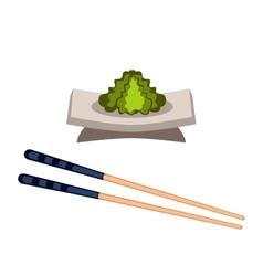 Sushi wasabi food and chopsticks vector