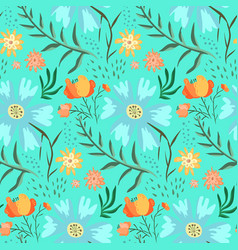 tender blue and green floral summer pattern vector image