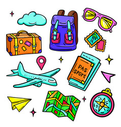 travel and vacation - isolated stickers set vector image