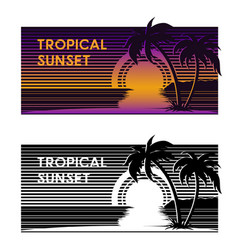 tropical beach sunset banner vector image