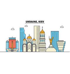 Ukraine kiev city skyline architecture vector