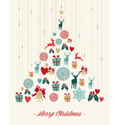 Vintage Christmas pine tree background vector